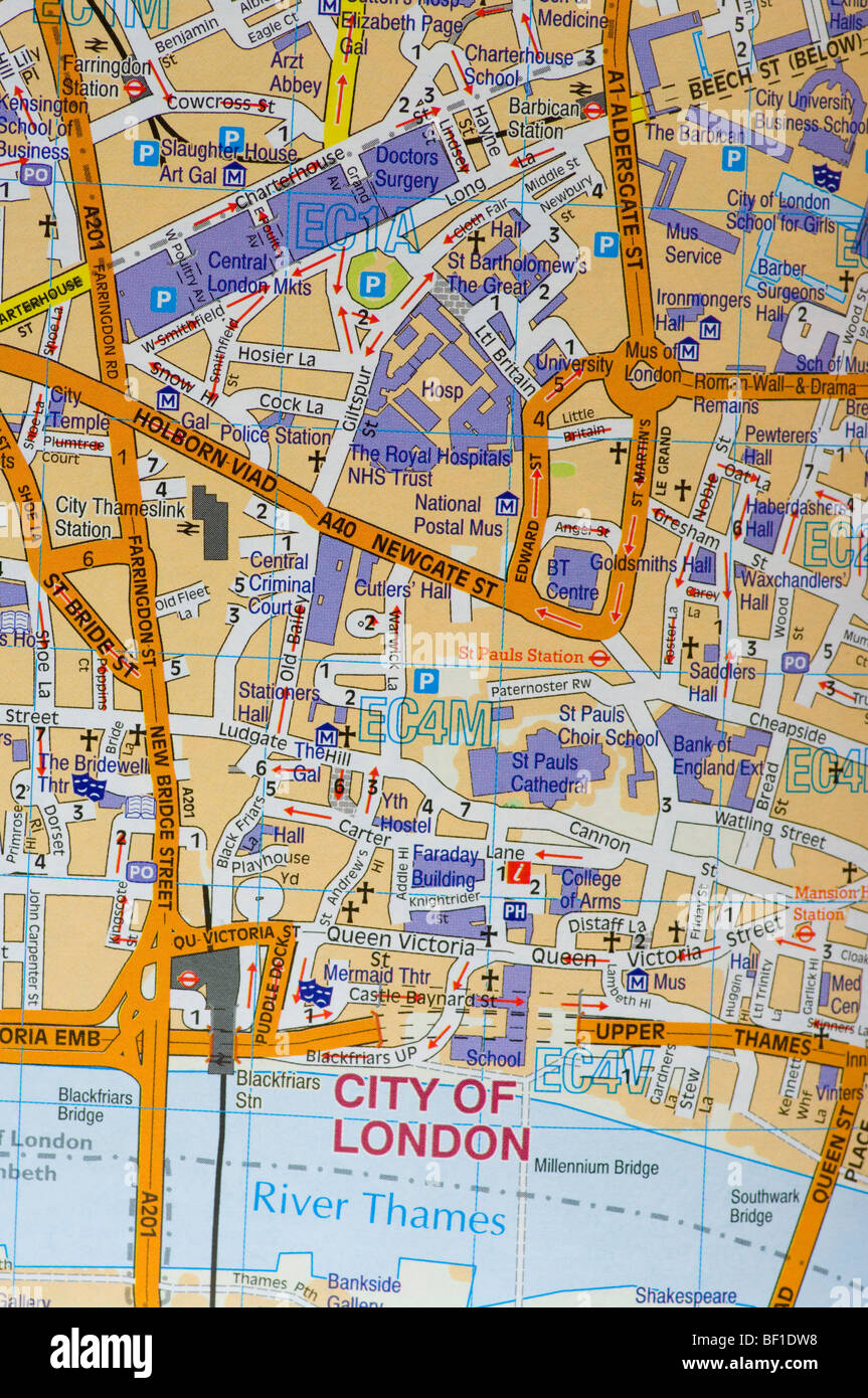 Central London Street Map.Street Map Of The City Of London Stock Photo 26463060 Alamy