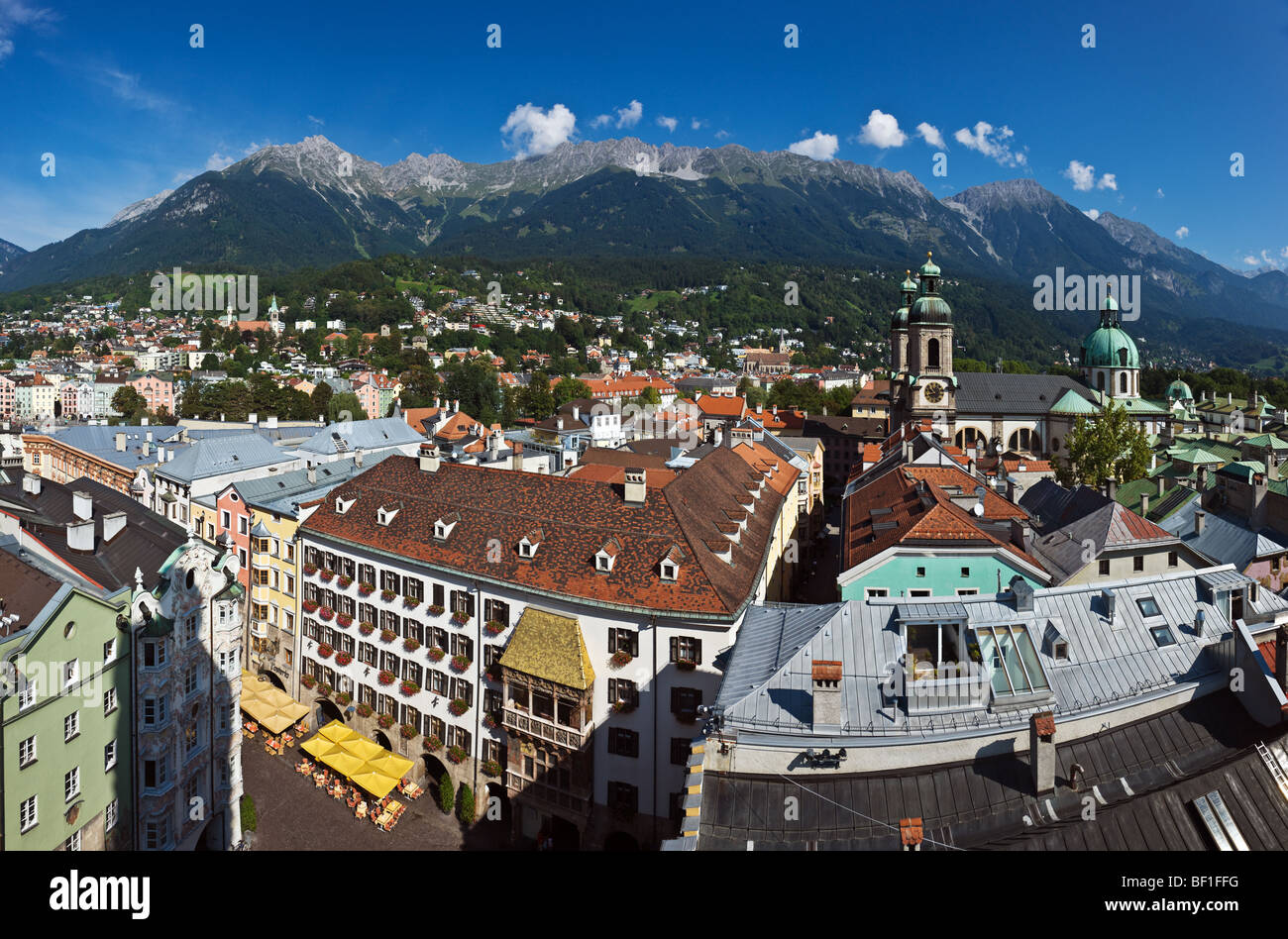 Panoramic view over Innsbruck city center and surrounding mountains, Tirol, Austria - Stock Image