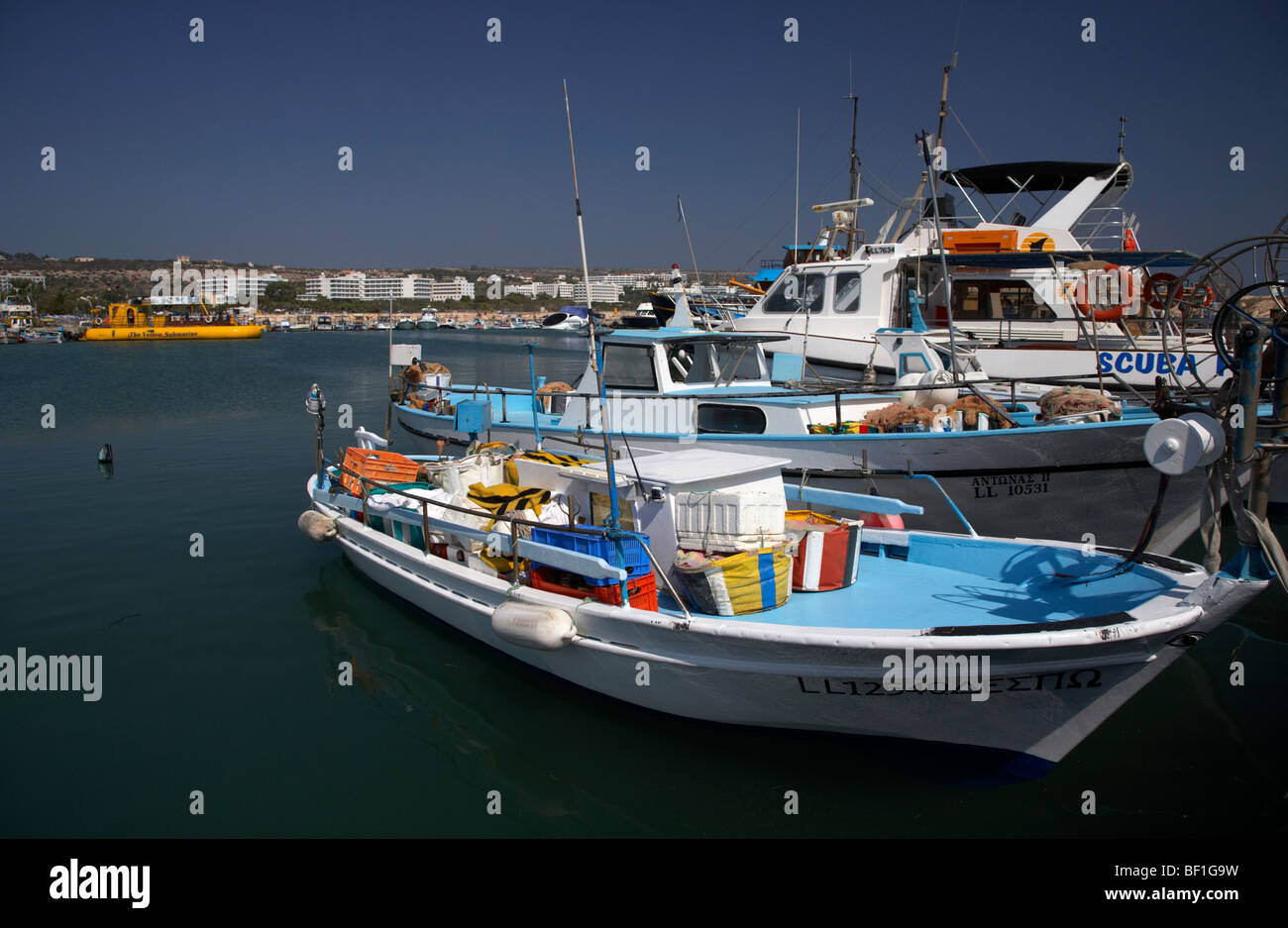 fishing and tourism boats in ayia napa harbour republic of cyprus - Stock Image