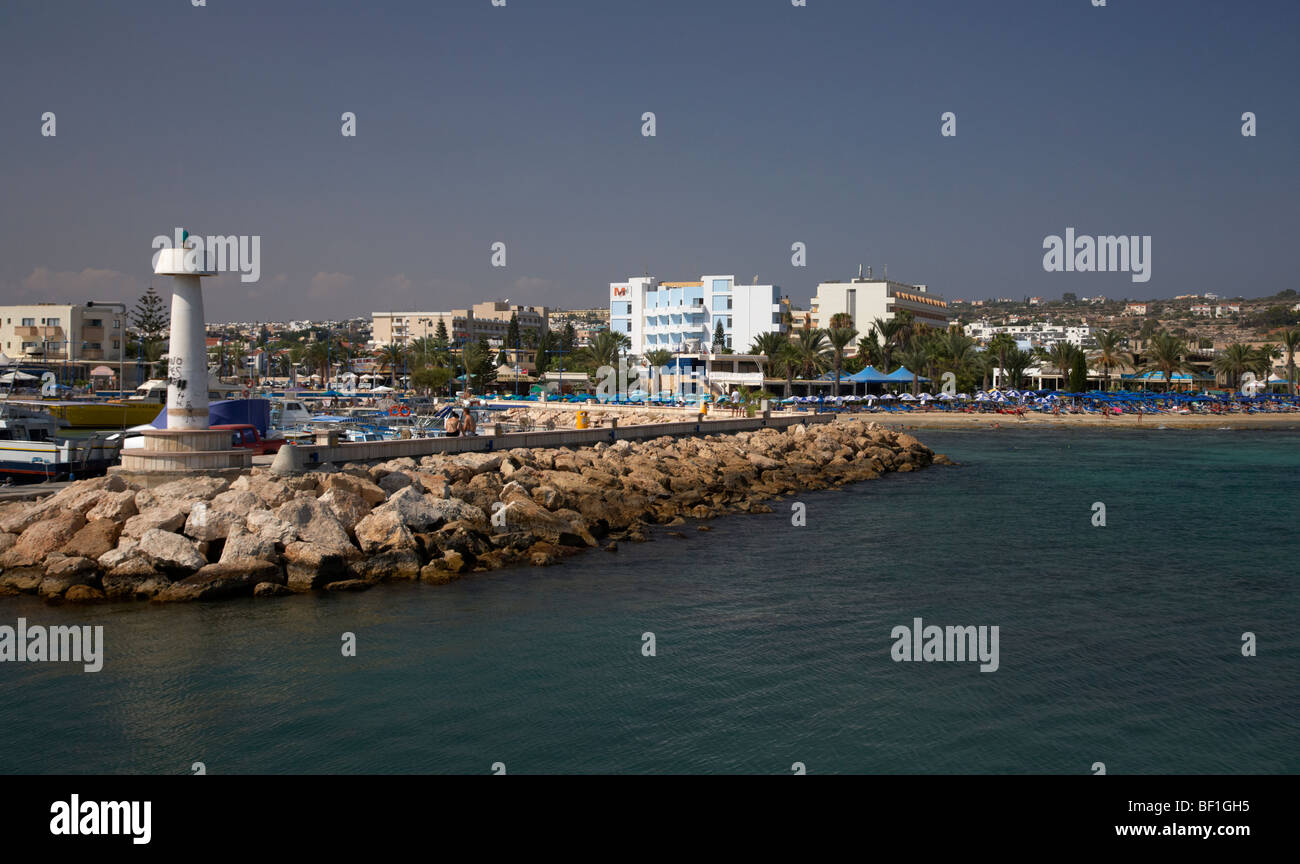 harbour wall and marina with harbour beach ayia napa republic of cyprus - Stock Image