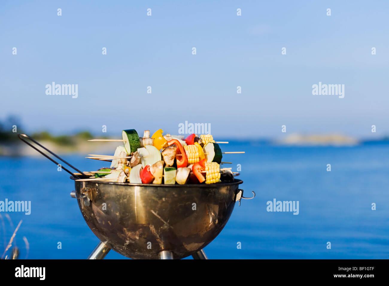 Barbecue, Stockholm archipelago, Sweden. - Stock Image