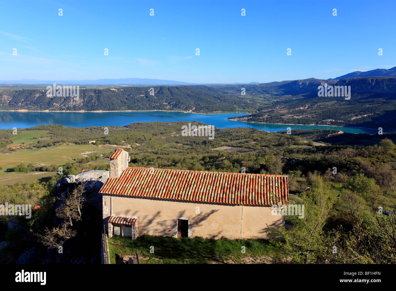 The little chapell of the village of Aiguines in the Verdon national park - Stock Image