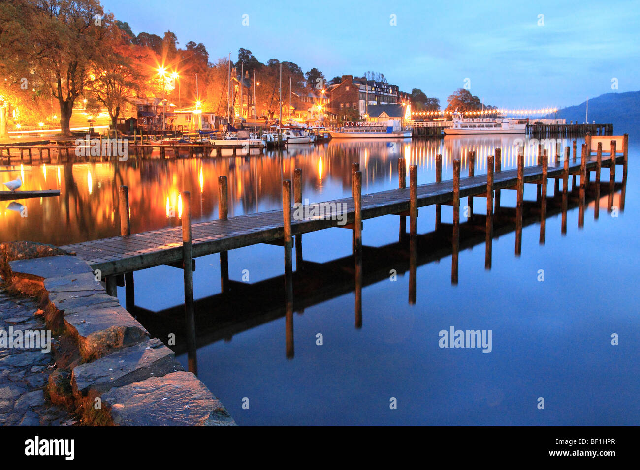 Pier in Ambleside Windermere Lake in Ambleside The Lake District Cumbria England - Stock Image