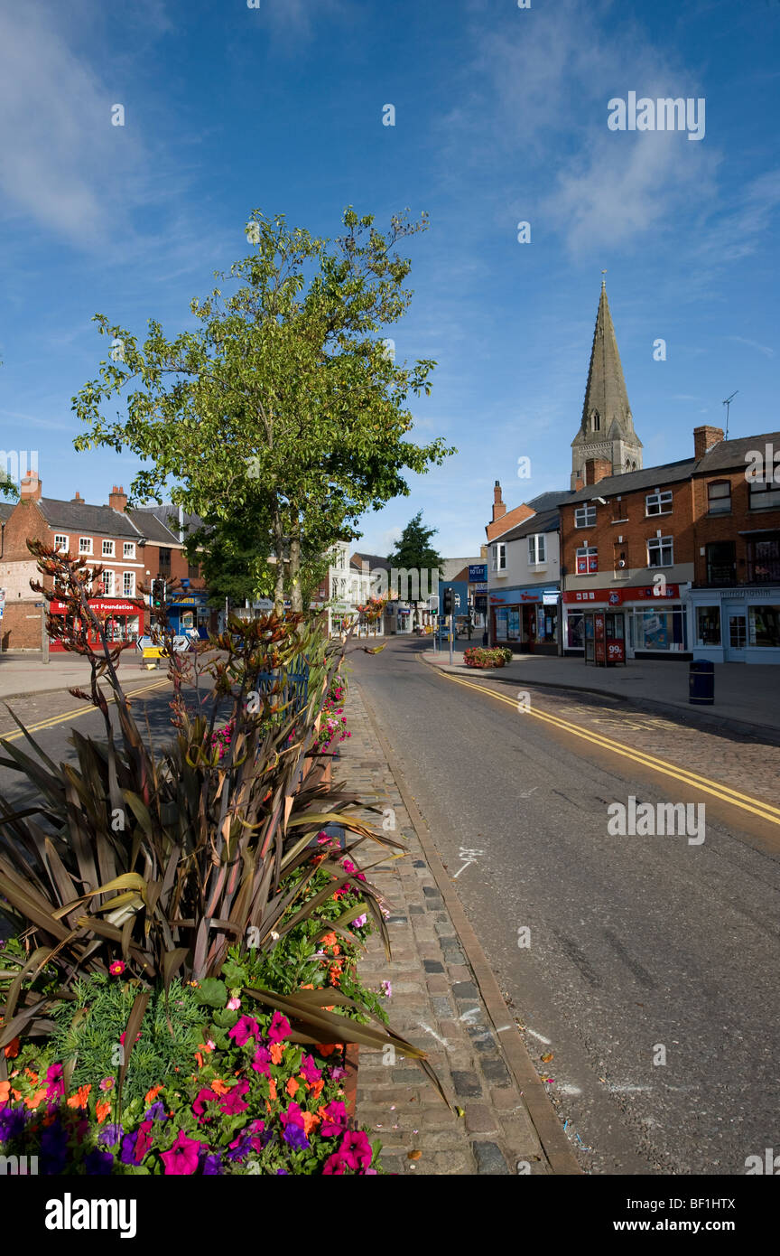 Empty street in the centre of the pretty market town of Market Harborough, Leicestershire - Stock Image