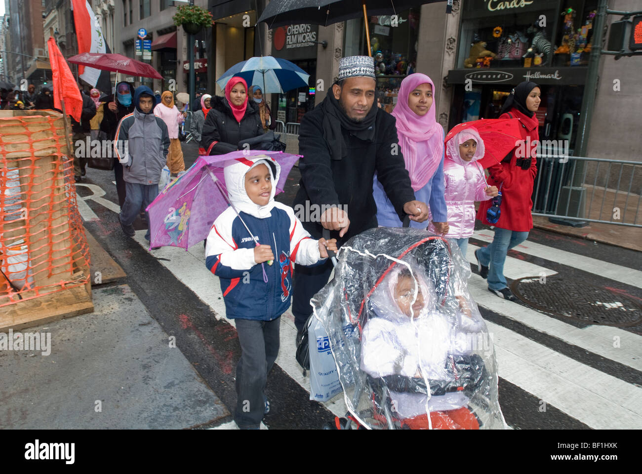 Muslims from the tri-state area gather in New York for the Muslim World Day Parade - Stock Image