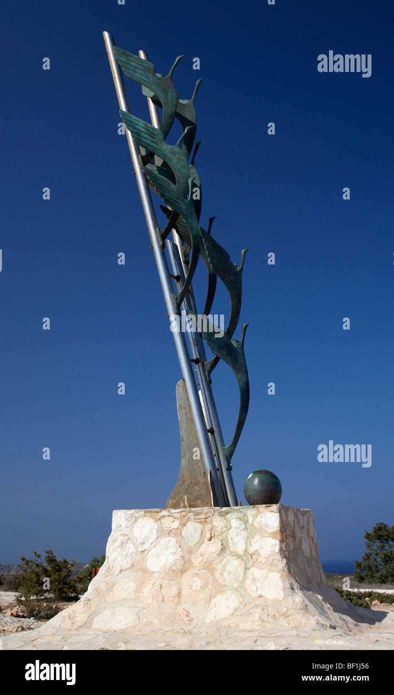 doves of peace sculpture Cape Gkreko cavo greco republic of cyprus - Stock Image