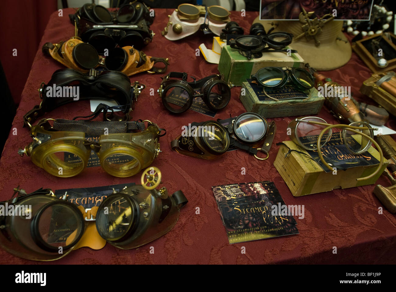 Steampunk accessories at the Brooklyn Indie Market in Brooklyn in New York - Stock Image