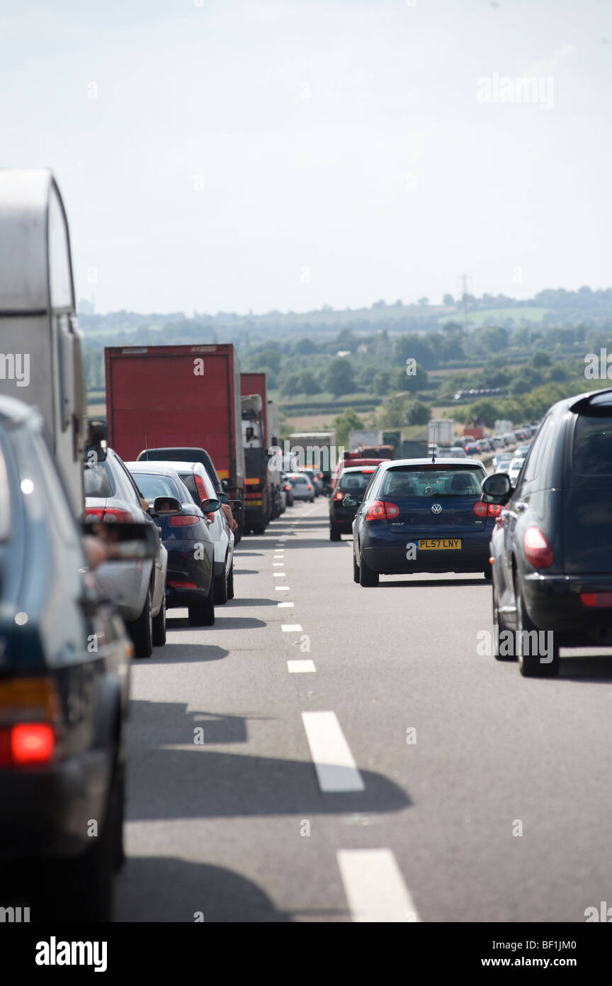 Heavy traffic congestion on the M42 motorway in England - Stock Image