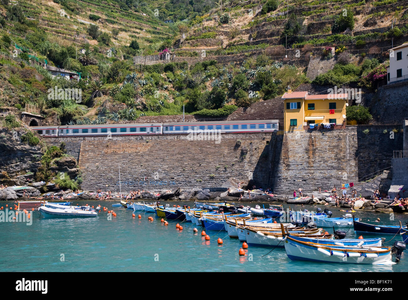 Train passing by and harbour, Vernazza, Cinque Terre, Liguria, Italy - Stock Image