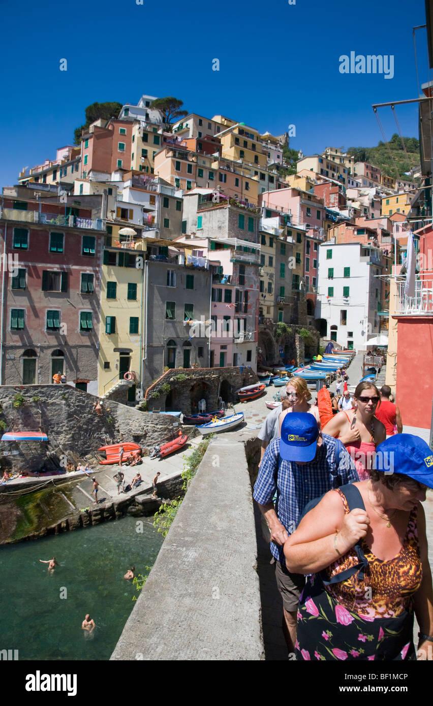 The village of Riomaggiore, Cinque Terre, Liguria, Italy - Stock Image