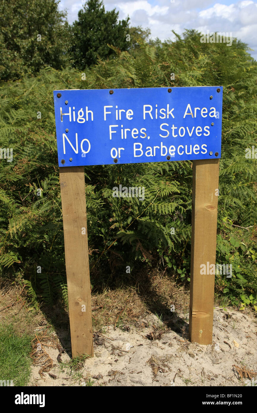 A Sign warning of a fire risk area so states NO Fires, Stoves or Barbecues - Stock Image