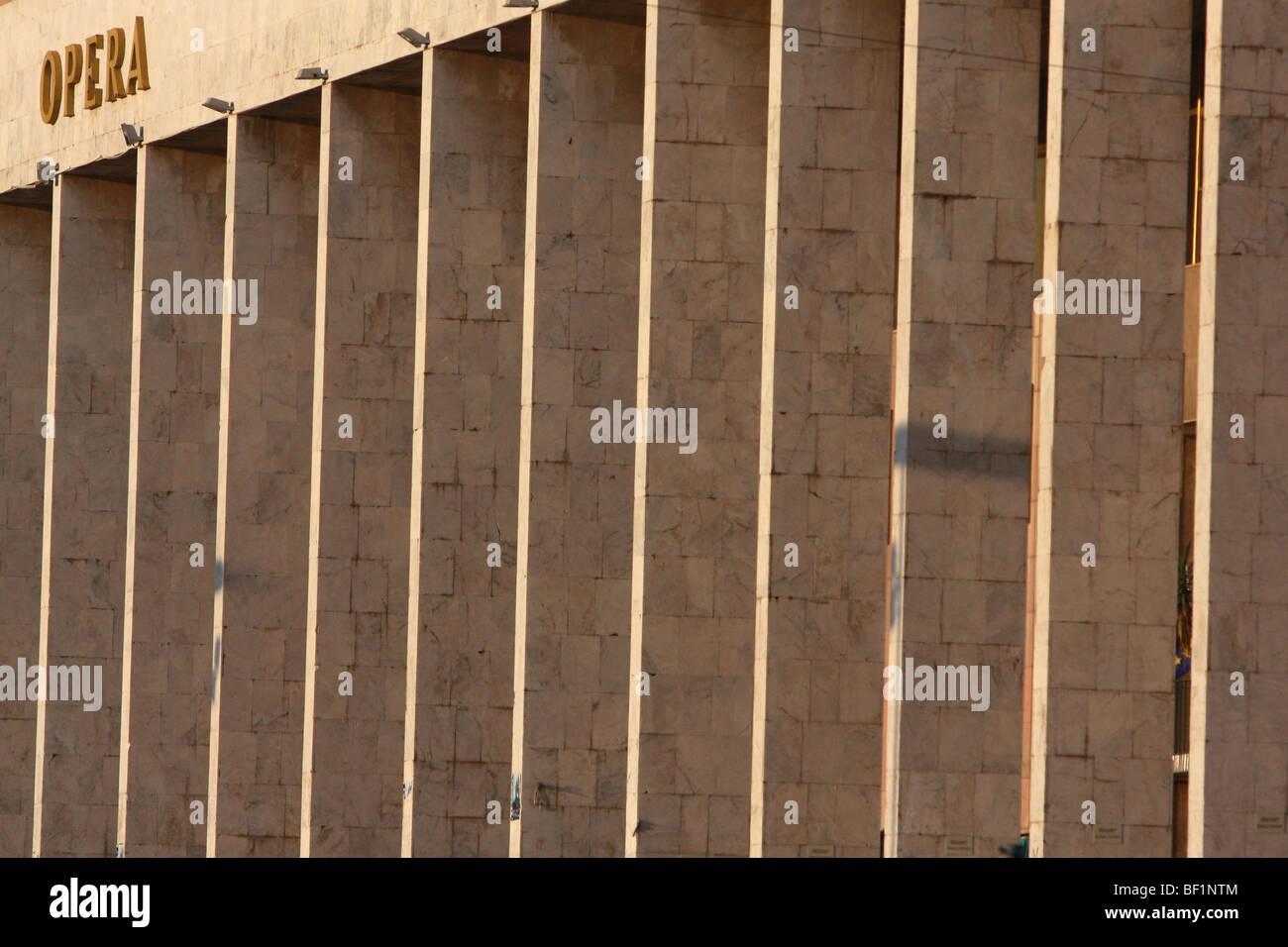 Colonnade of the Opera House in Skanderbeg Square, Tirana, Albania - Stock Image