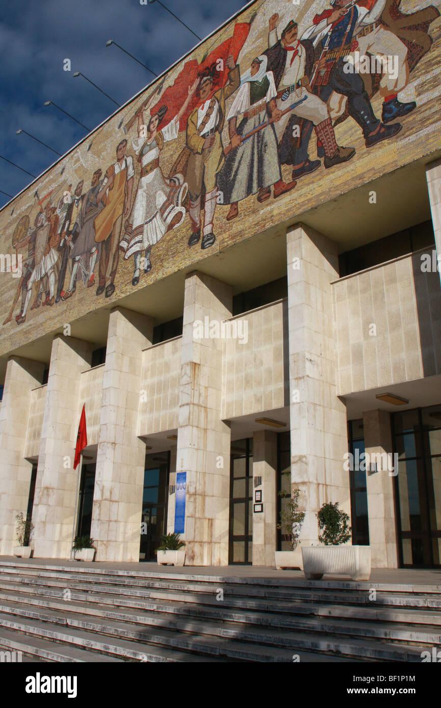 Mosaic on the facade of the National History Museum in Skanderbeg Square, Tirana, Albania - Stock Image