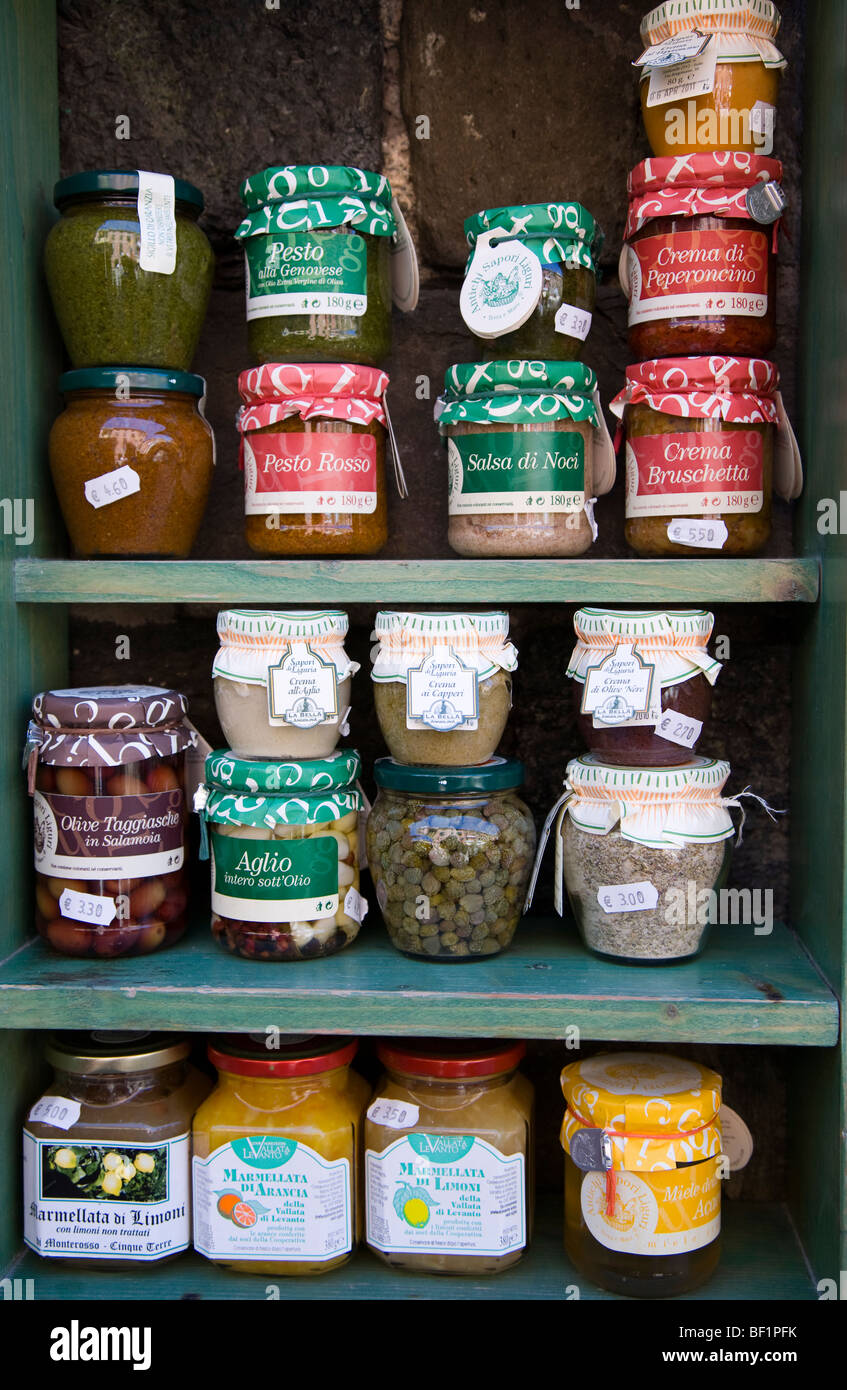 Jars of local produce for sale, Vernazza, Cinque Terre, Liguria, Italy - Stock Image