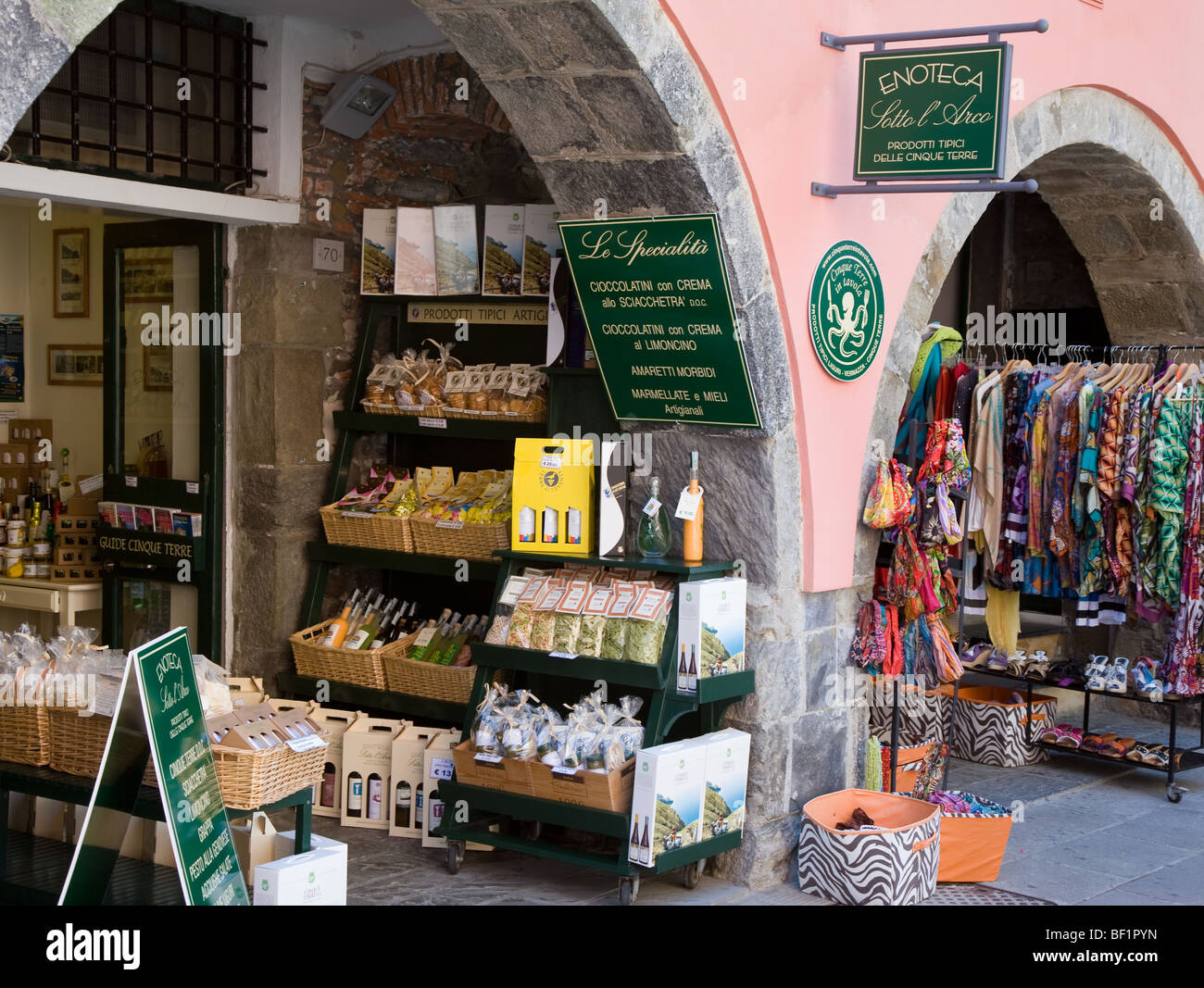 Shop selling local produce, Vernazza, Cinque Terre, Liguria, Italy - Stock Image