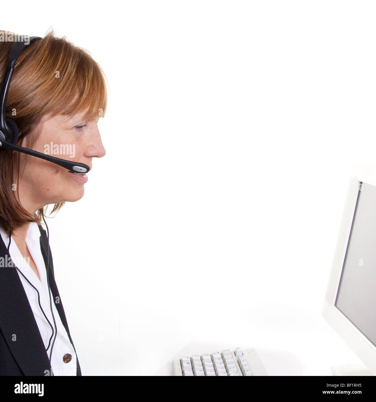 Older Senior Woman In Call Centre Or Business Situation   Stock Image