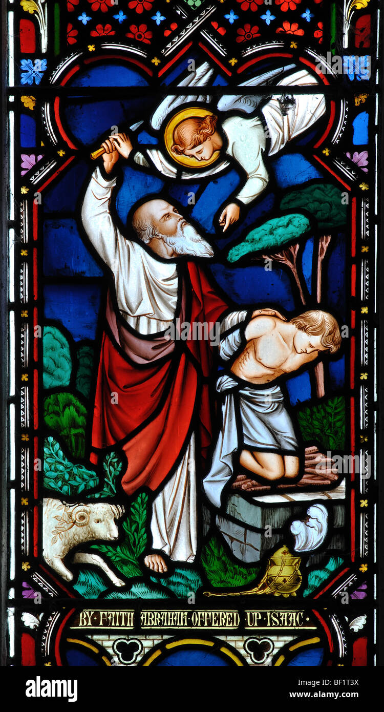 Abraham sacrificing Isaac stained glass, All Saints Church, Down Ampney, Gloucestershire, England, UK - Stock Image