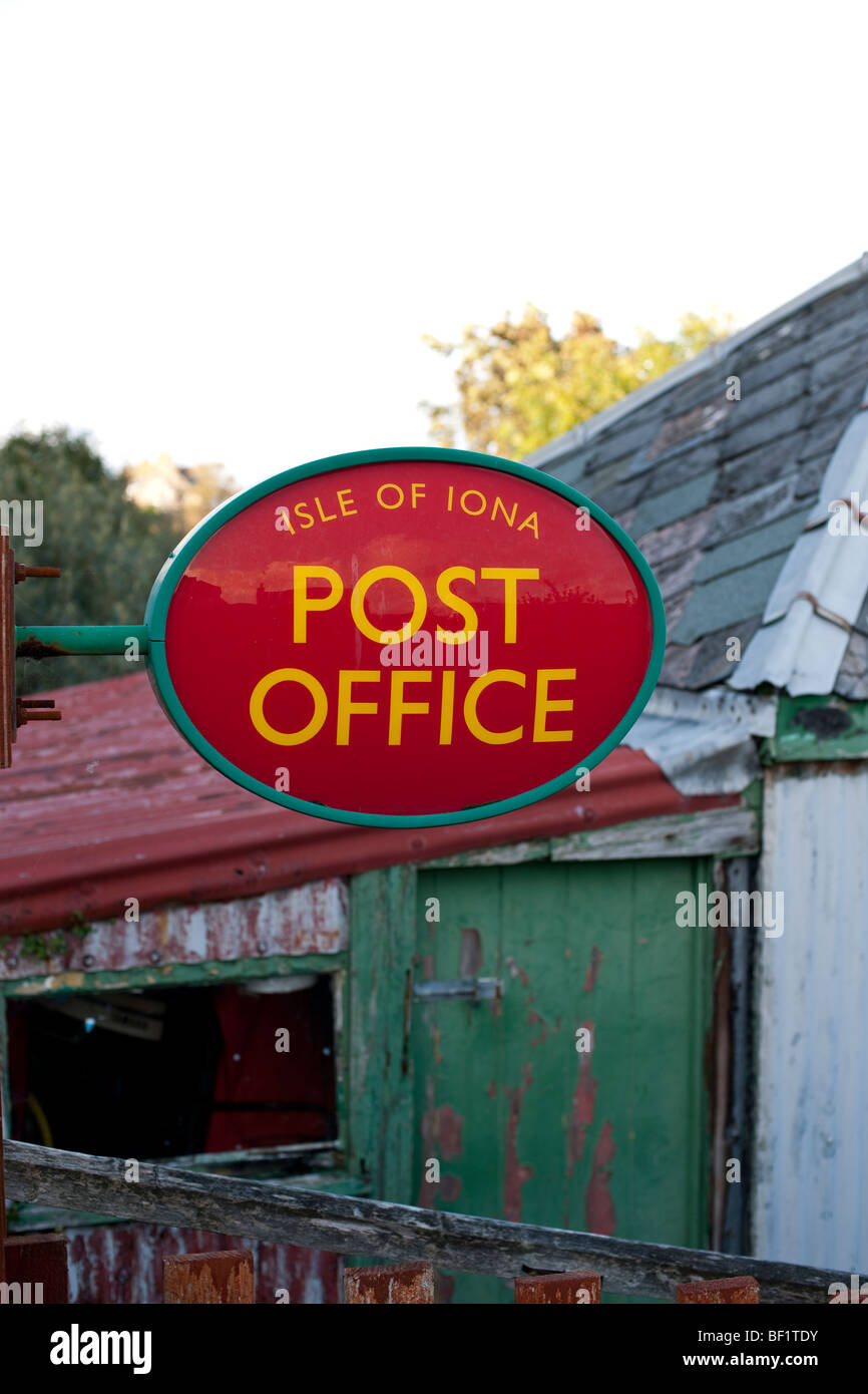 Post Office sign on the Isle of Iona, Scotland - Stock Image
