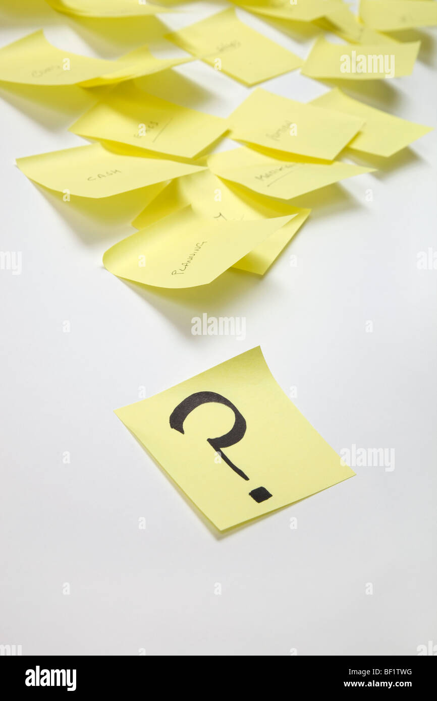 Yellow Note Pages On A White Background Question Mark Written On