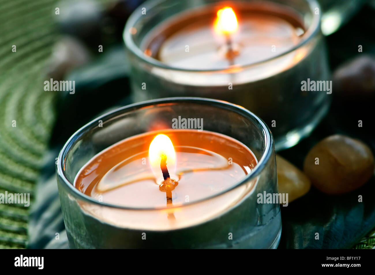 Burning candles in glass holders on green leaf - Stock Image