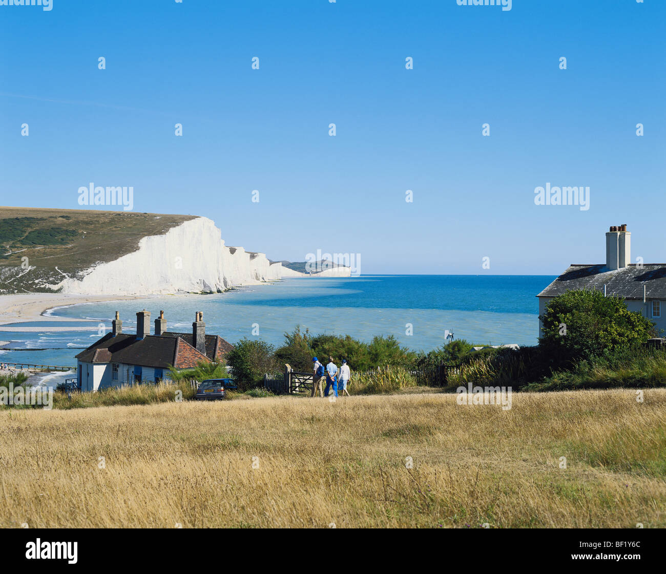 Seven Sisters Coastline from Seaford Head, East Sussex, England, UK, GB - Stock Image