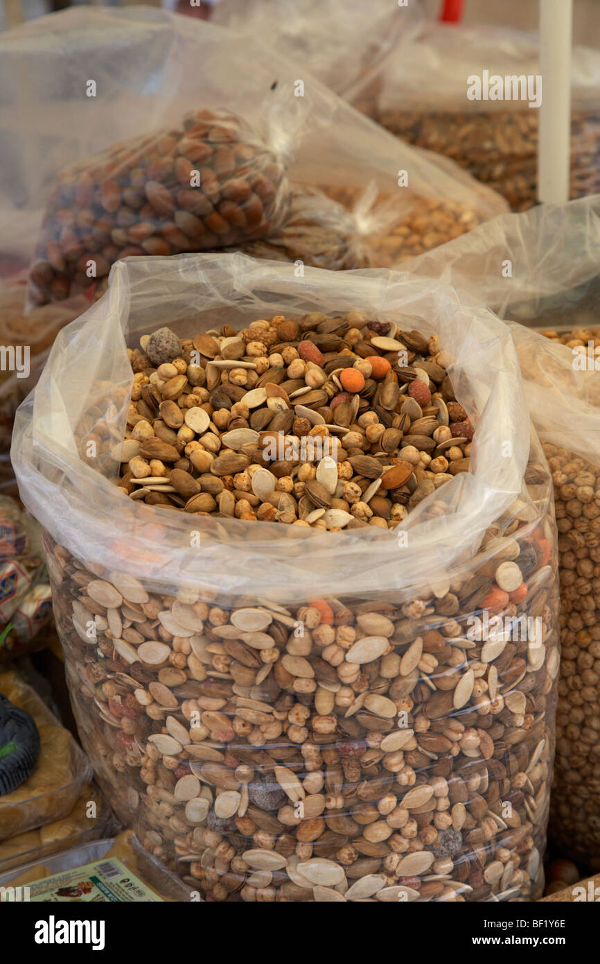 large bag of mixed nuts on a stall in famagusta turkish republic of northern cyprus trnc - Stock Image