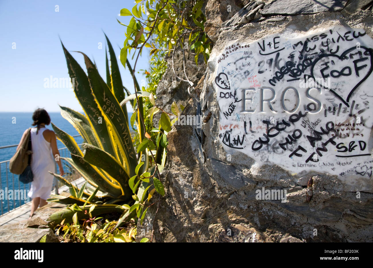 Eros plaque on the Via dell'Amore Path of Love, Cinque Terre, Liguria, Italy - Stock Image