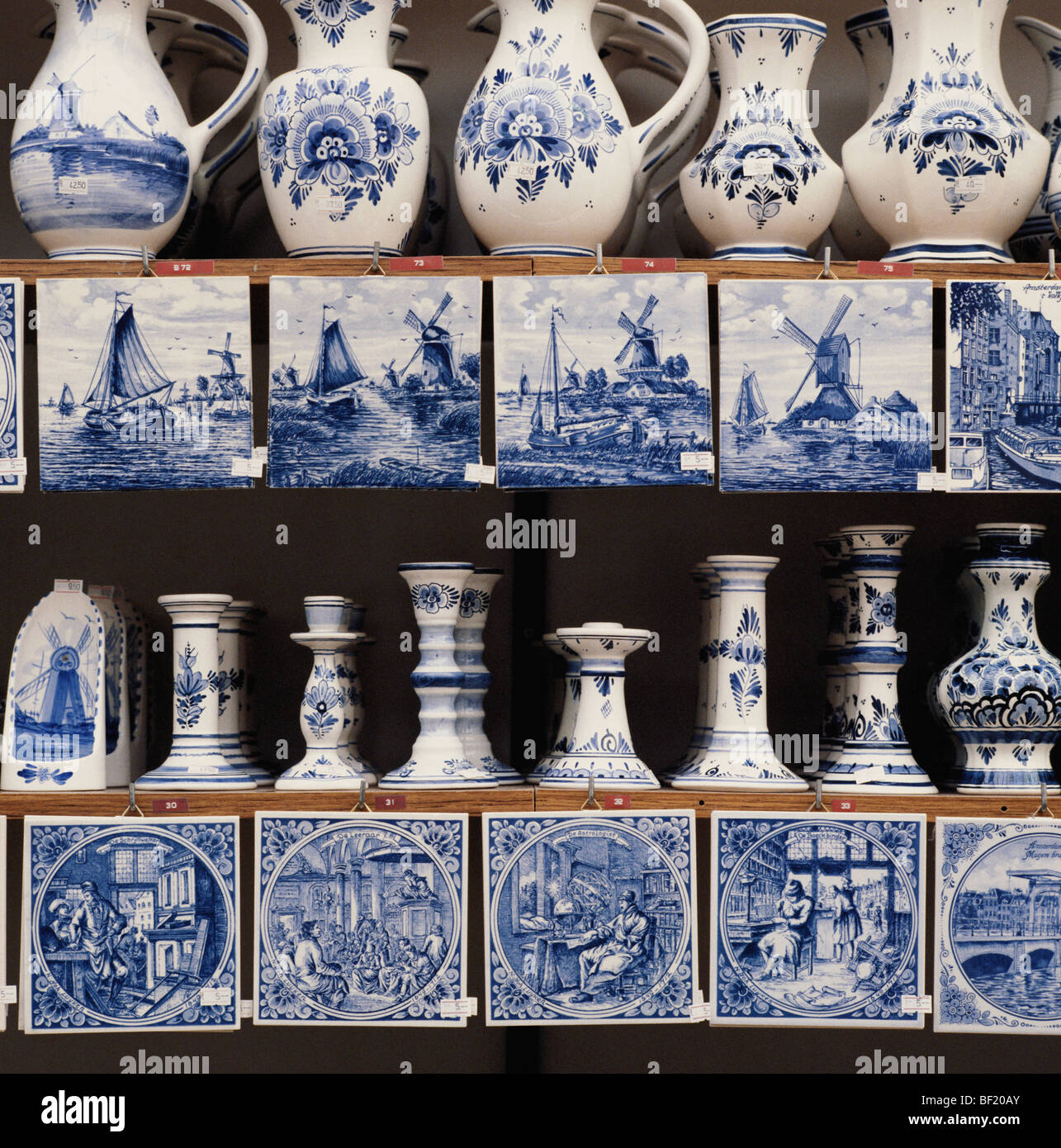 Dutch Delft Blue and White Pottery in Amsterdam market, Holland, the Netherlands - Stock Image