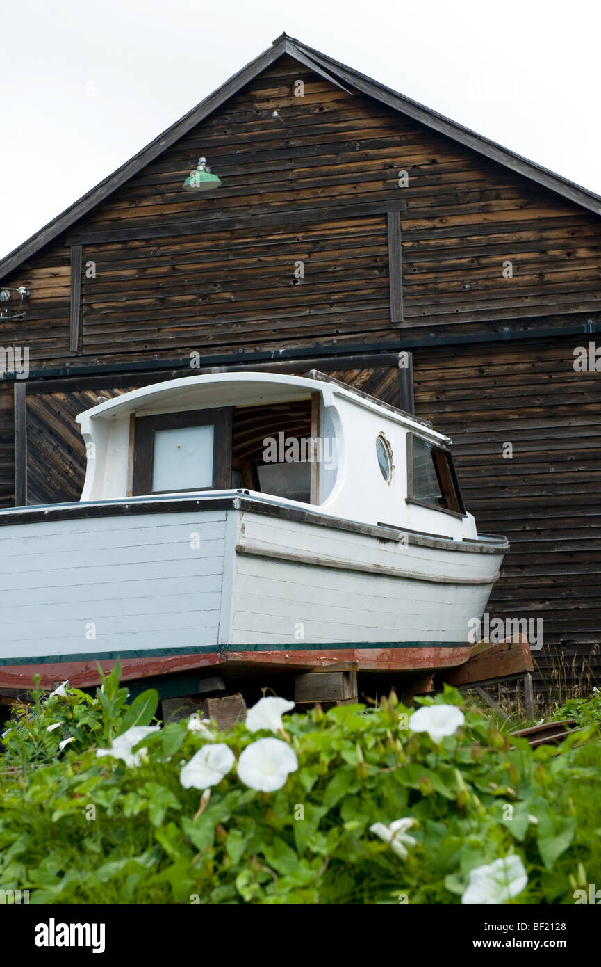 old boat being repaired Stock Photo