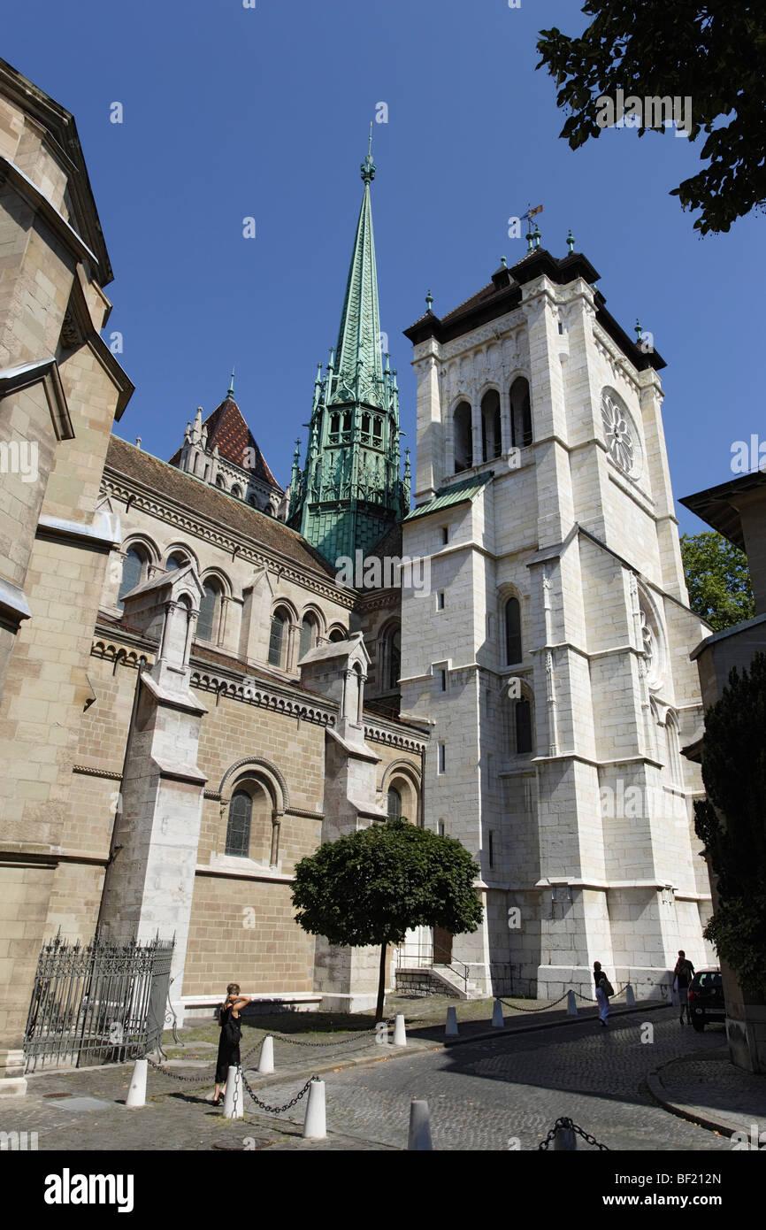 St. Pierre Cathedral, Geneva, Canton of Geneva, Switzerland - Stock Image