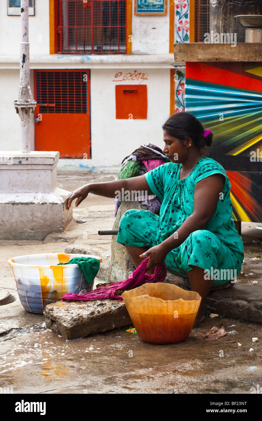 indian woman washing clothes by hand stock photos amp indian