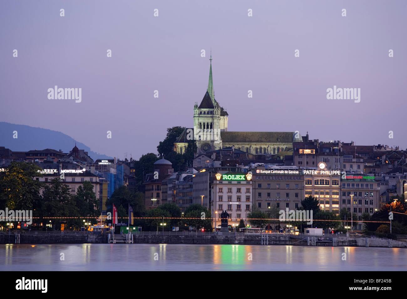St. Pierre Cathedral at night, Geneva, Canton of Geneva, Switzerland - Stock Image