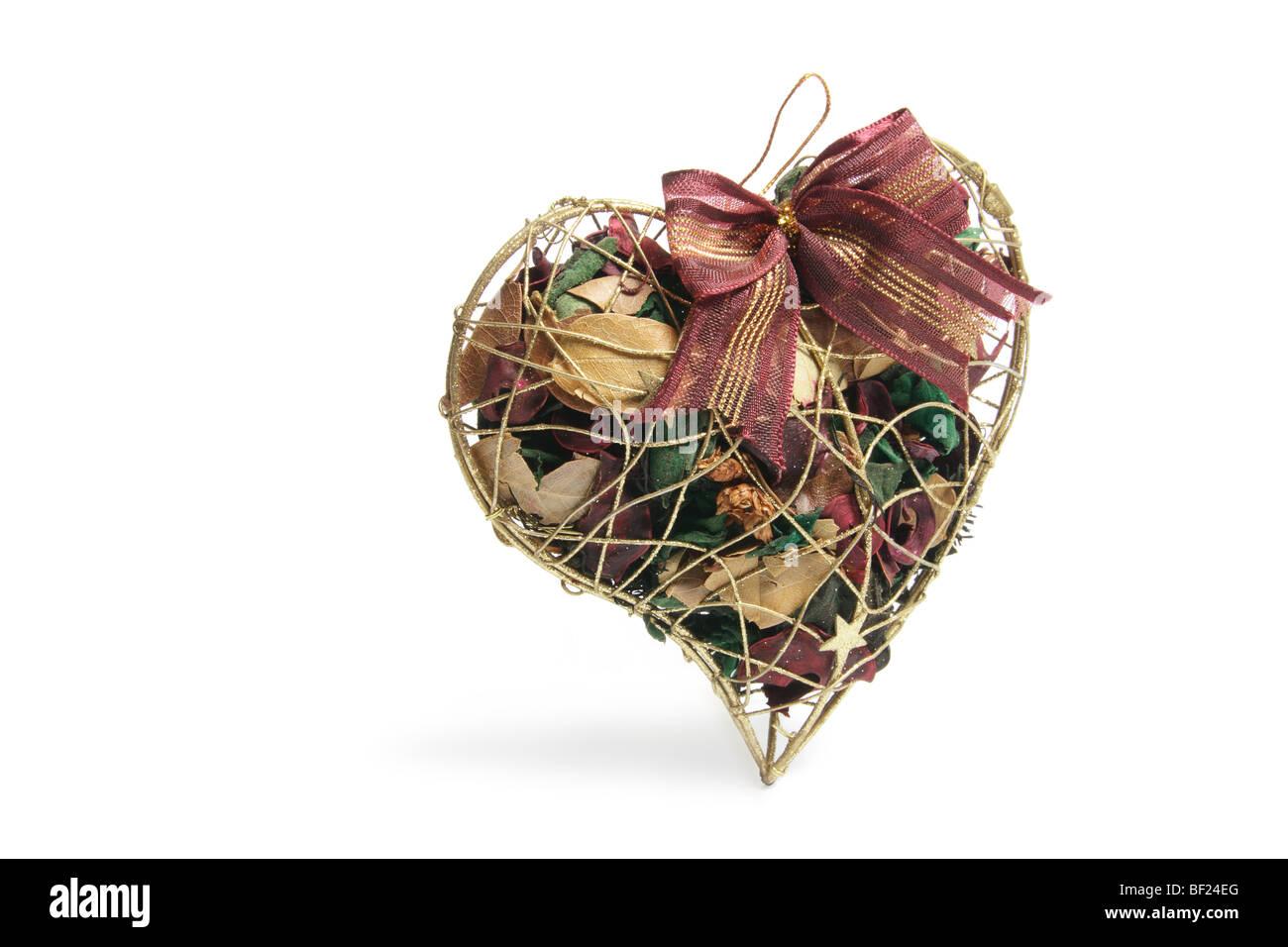 Potpourri in Heart-Shaped Box - Stock Image