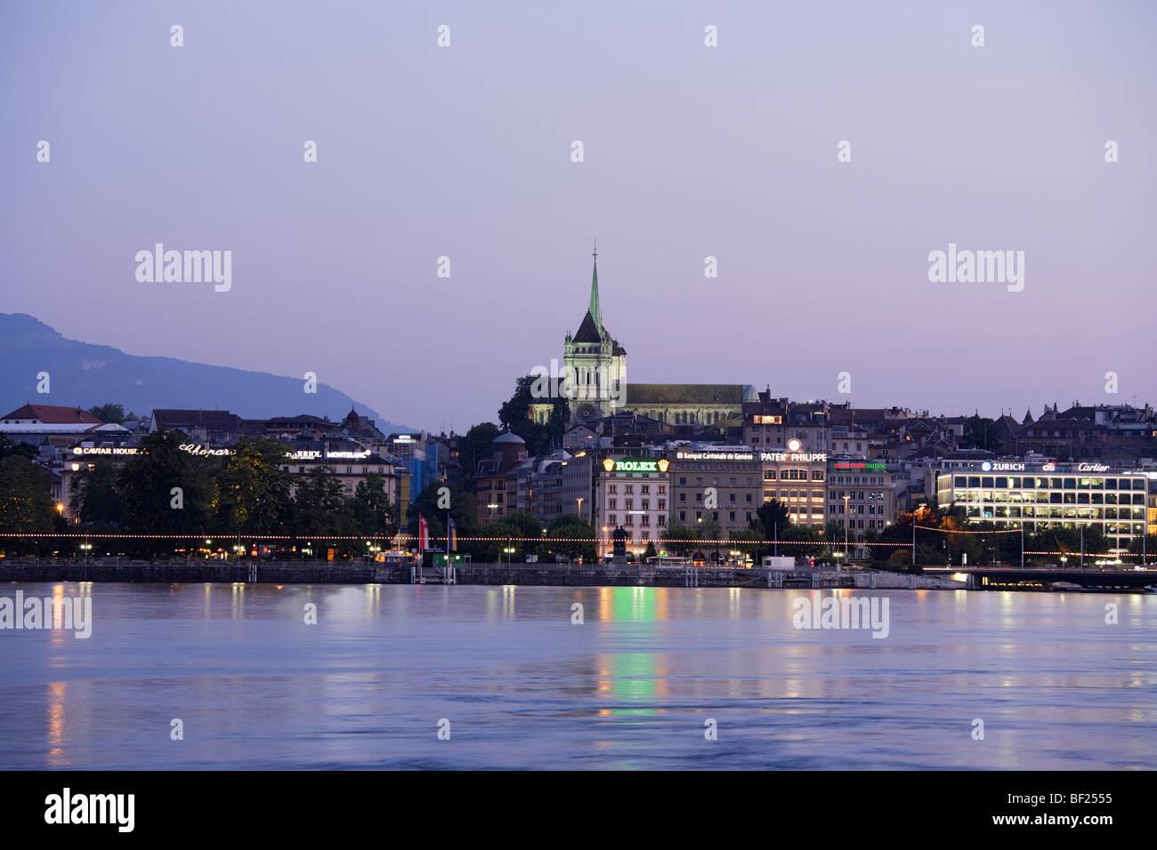St. Pierre Cathedral in the evening, Geneva, Canton of Geneva, Switzerland - Stock Image