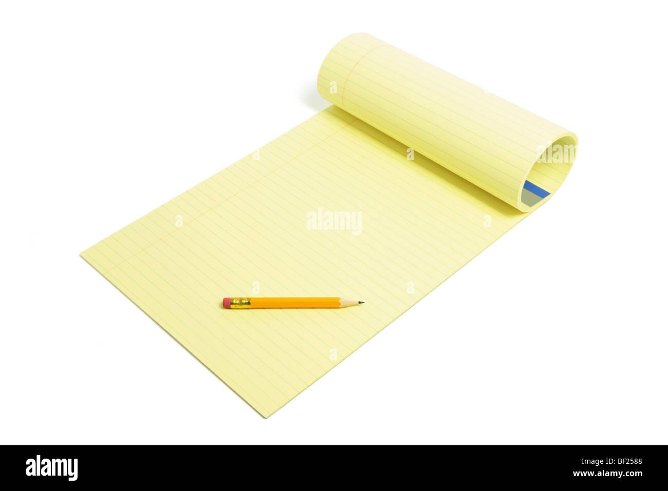 Pencil and Writing Pad - Stock Image
