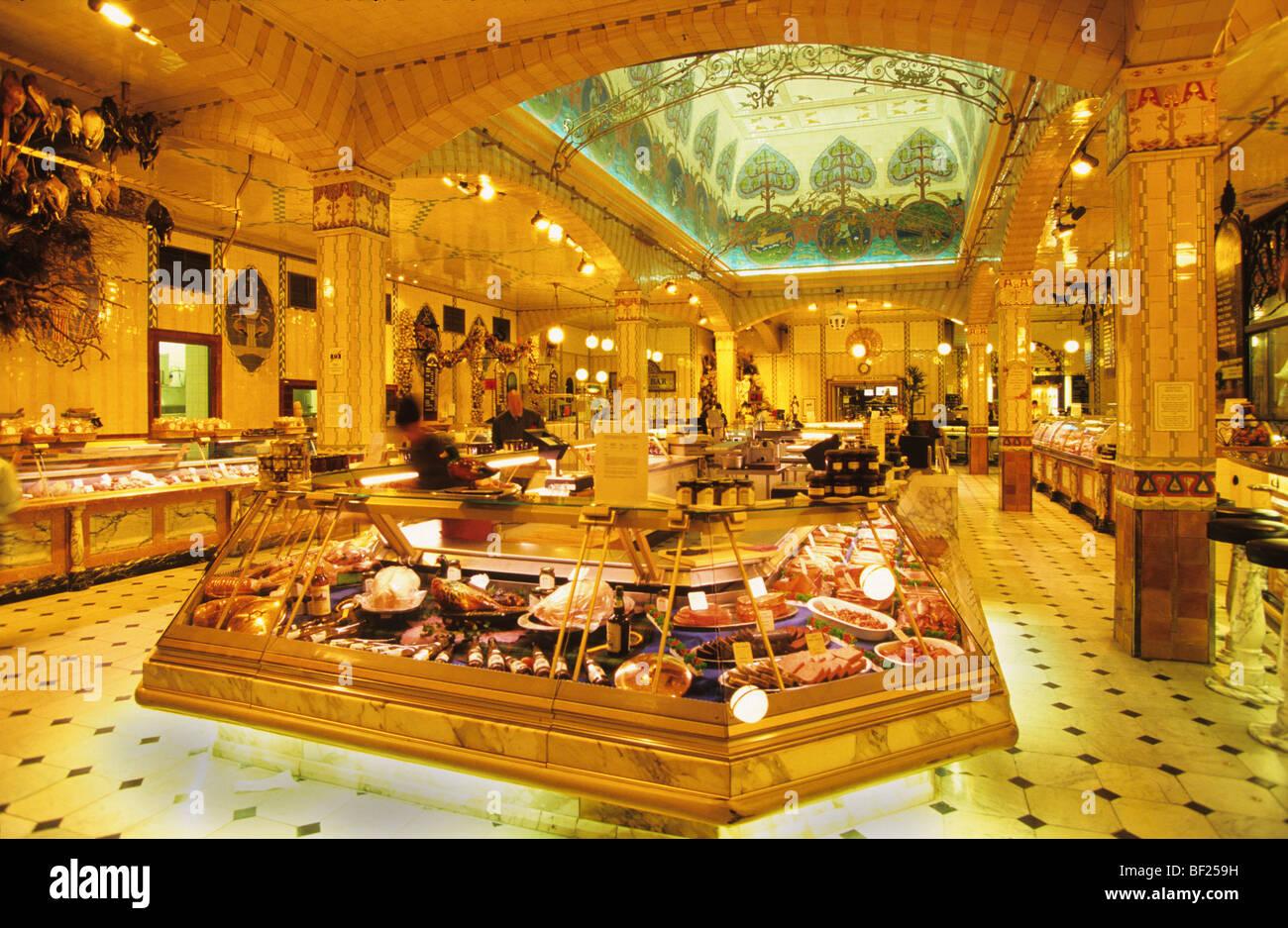 Harrods foodstore delicatessen interior architecture, London Stock ...