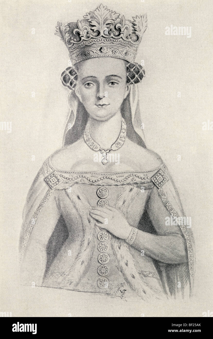 Joan of Navarre circa. 1370 to 1437. Queen Consort of England through marriage to King Henry IV of England. - Stock Image