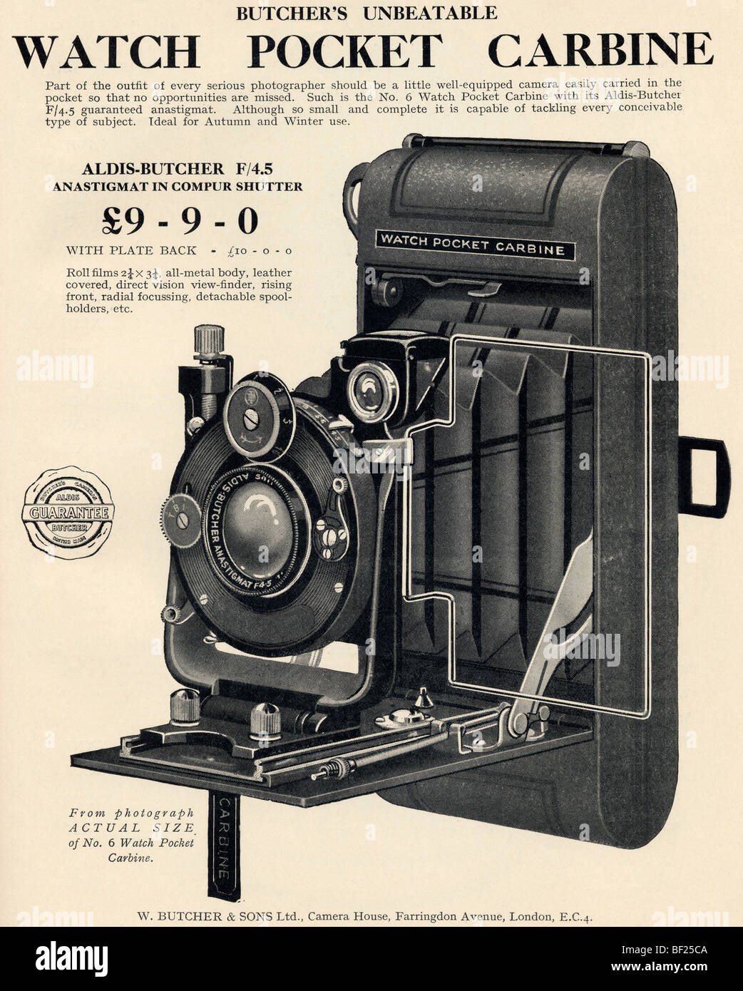 Advertisement for the Watch Pocket Carbine Camera of the 1920's - Stock Image