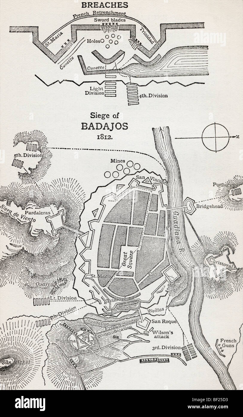 Map showing the site of the Siege of Badajoz, Spain, 1812. - Stock Image
