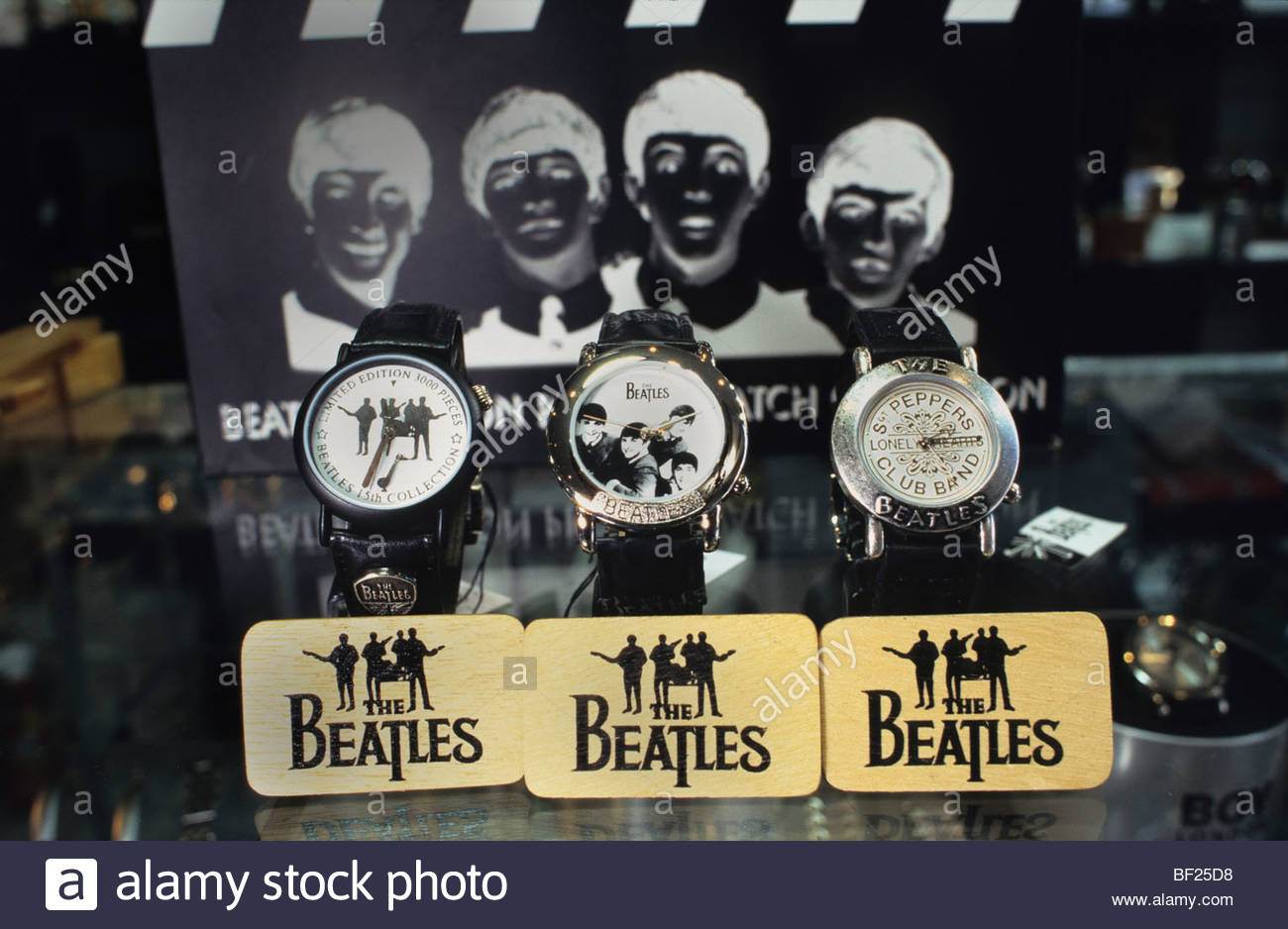 Beatles watches and paraphernalia on sale in Carnaby Street, London, England - Stock Image