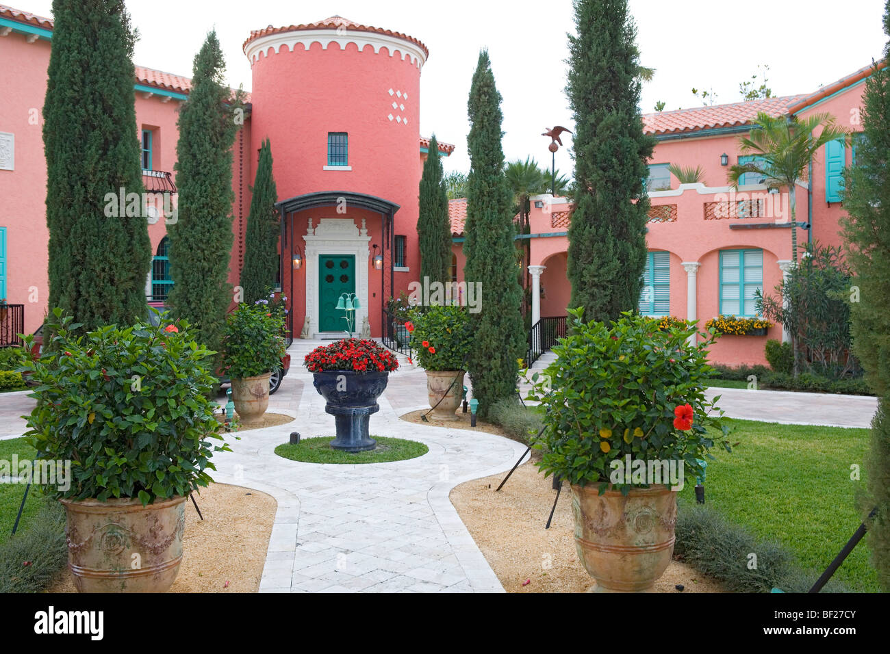 Luxurious villa with front garden, Fort Lauderdale, Florida, USA - Stock Image