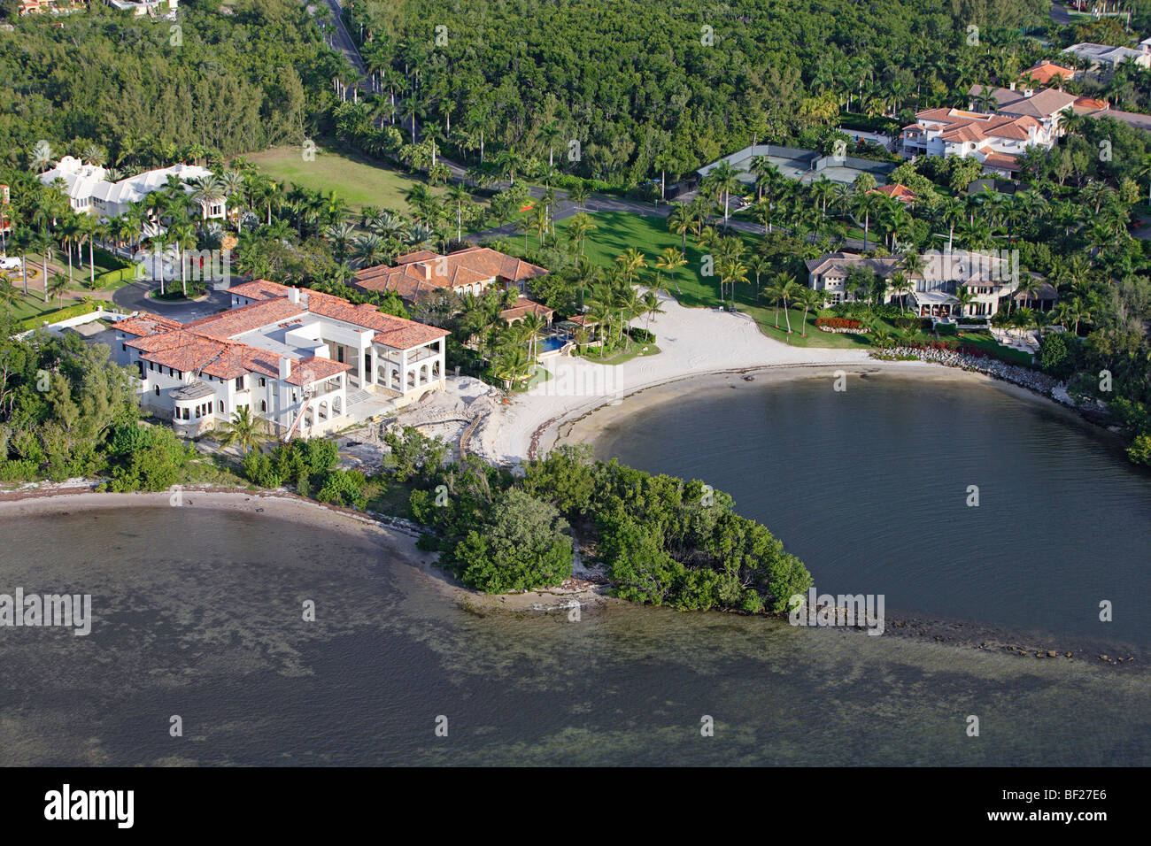 Aerial view of a luxurious villa at a small bay, Coral Gables, Miami, Florida, USA Stock Photo