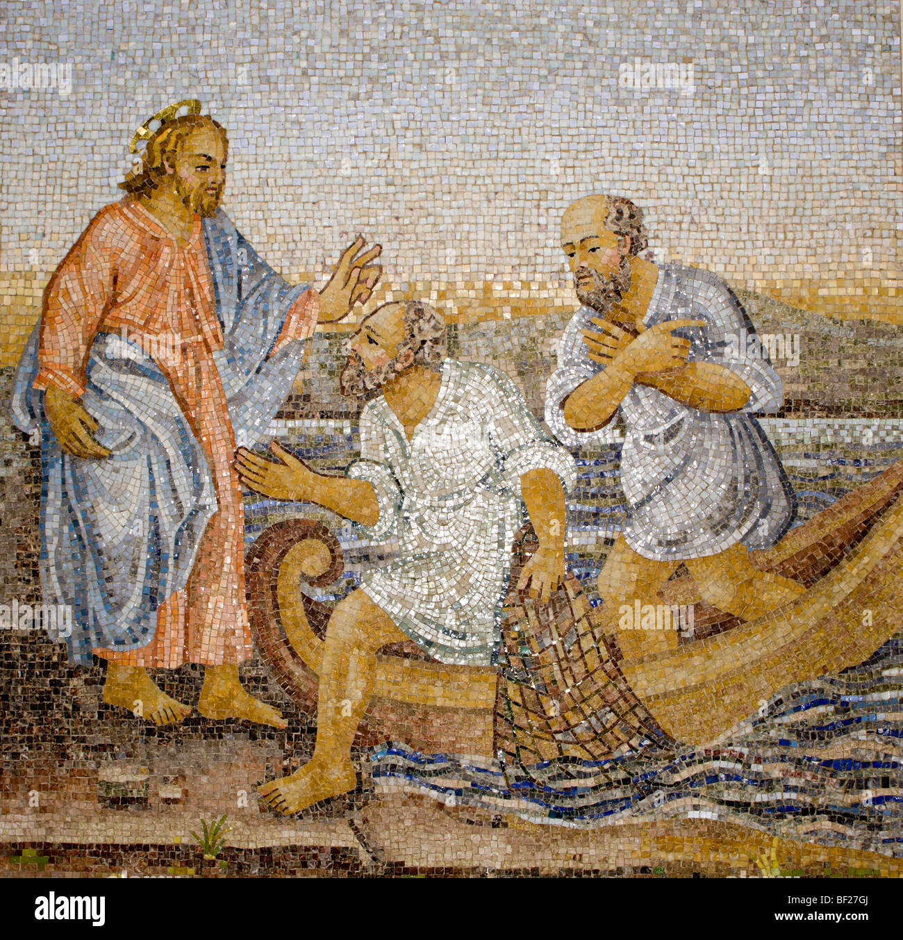 Rome - mosaic - miracle fishing from New Testament in basilica of st. Peters - Stock Image