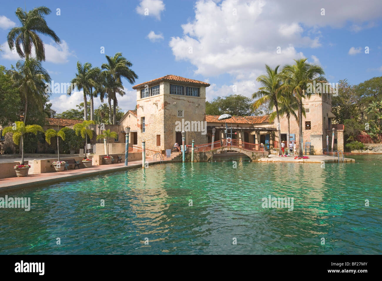 View at a deserted swimming pool in the sunlight, Venetian Pool, Miami, Florida, USA - Stock Image