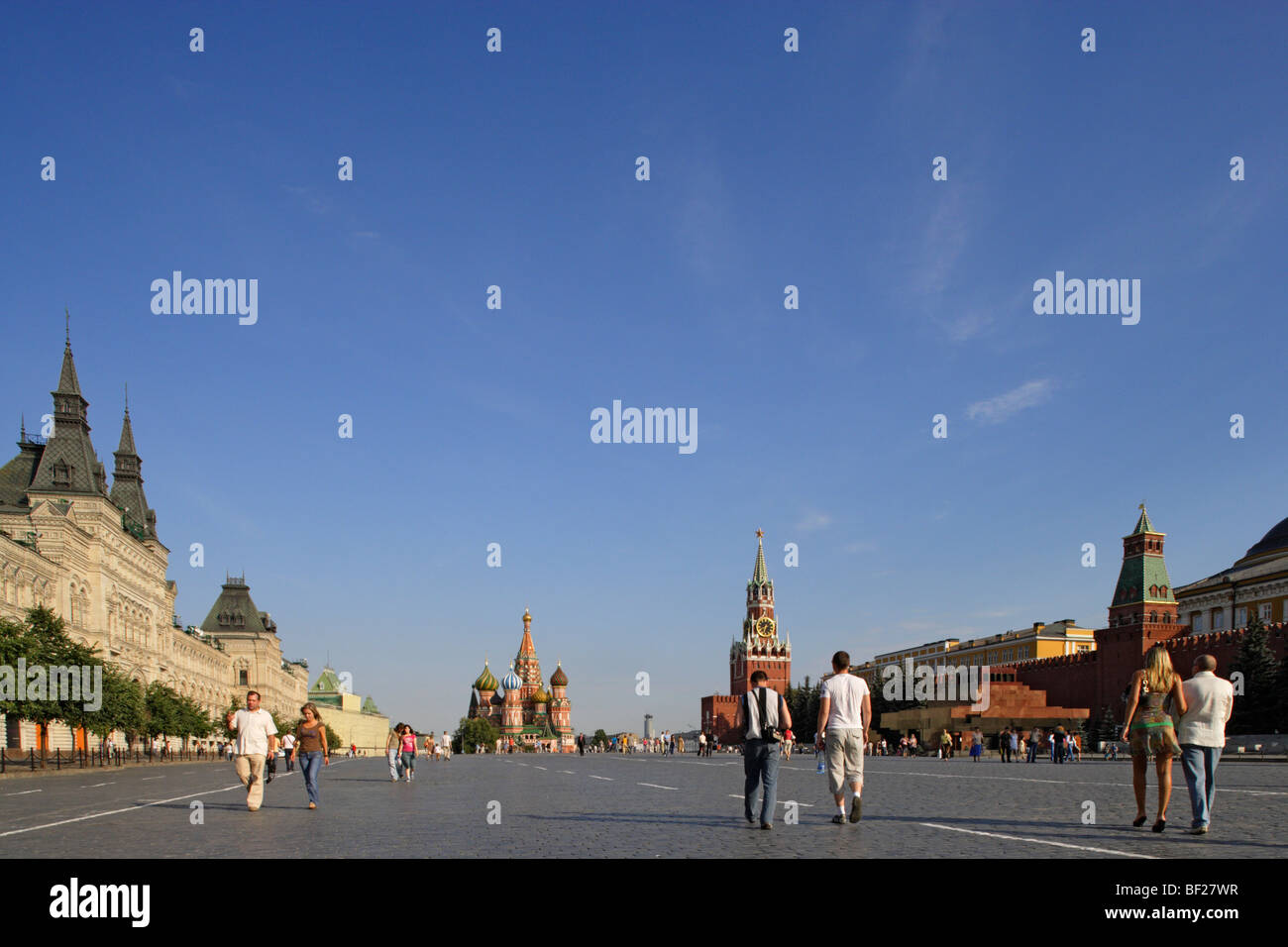Red Square with GUM, Saint Basil's Cathedral, Saviour tower, Spasskaya, and the Lenin mausoleum, Moscow, Russia - Stock Image