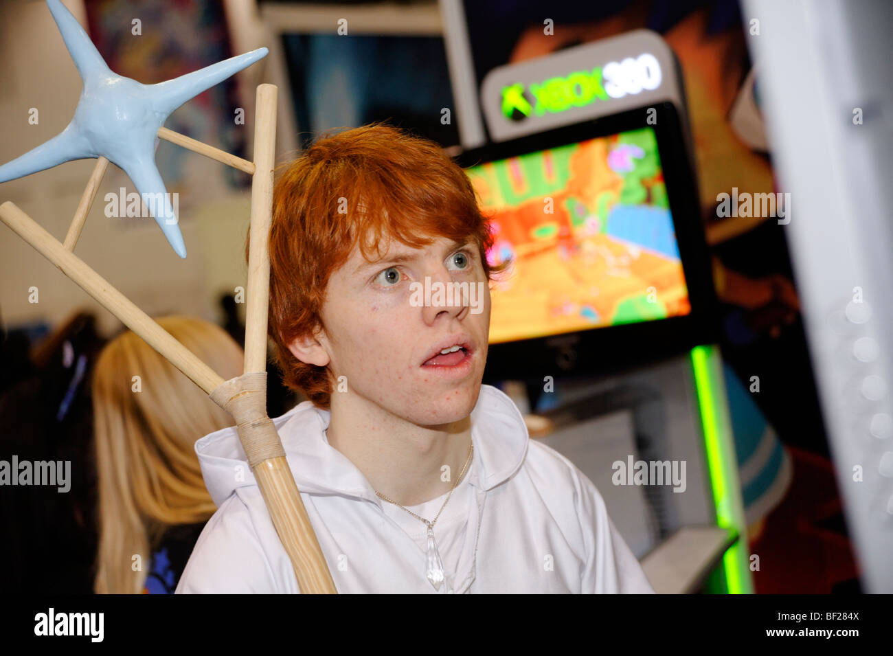 Fan playing video games at the London MCM expo. Britain 2009. - Stock Image
