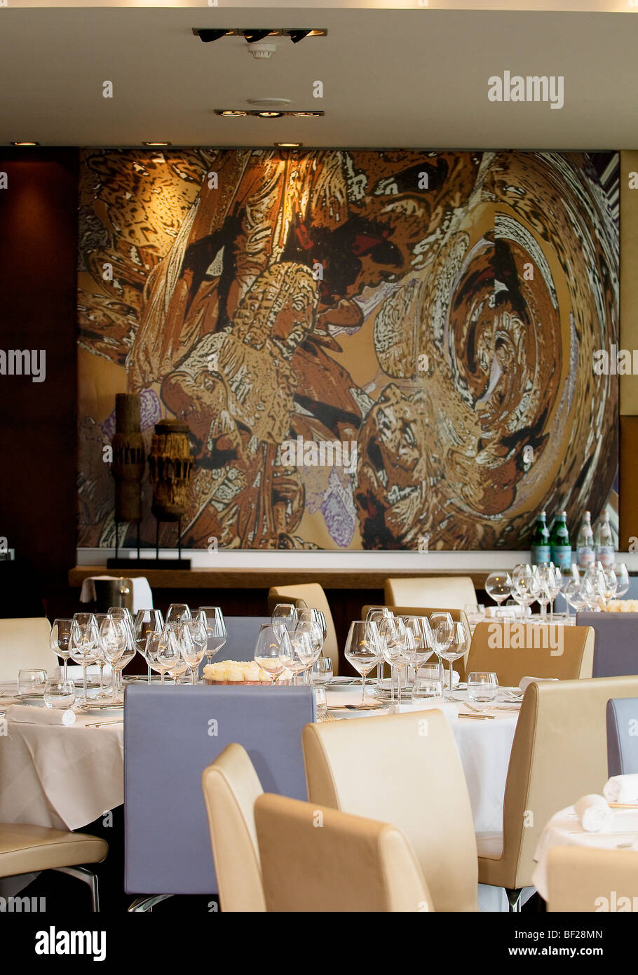 The interior of Lisbon's Restaurante Eleven, which boasts a Michelin star for its inventive gourmet menu - Stock Image