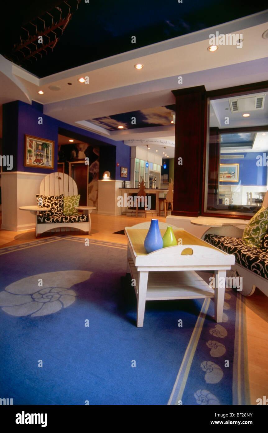Hotel room of Hotel Indigo, Chicago, Illinois, USA - Stock Image