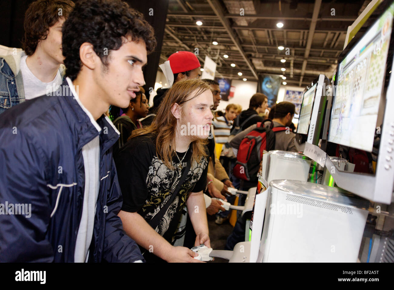 Fans playing video games at the London MCM expo. Britain 2009. - Stock Image