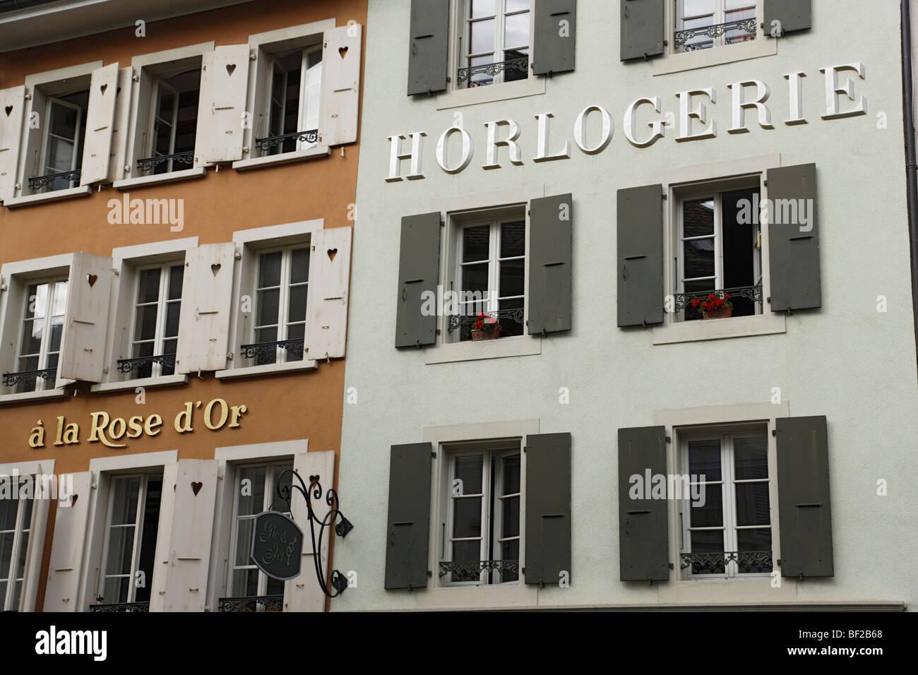 Watchmaker at Rue du Lac, Vevey, Canton of Vaud, Switzerland - Stock Image